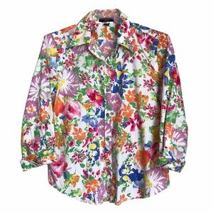 Chaps Floral Cotton Button Down Shirt PL